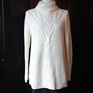 Lands' End cable knit long turtle neck sweater! Sm